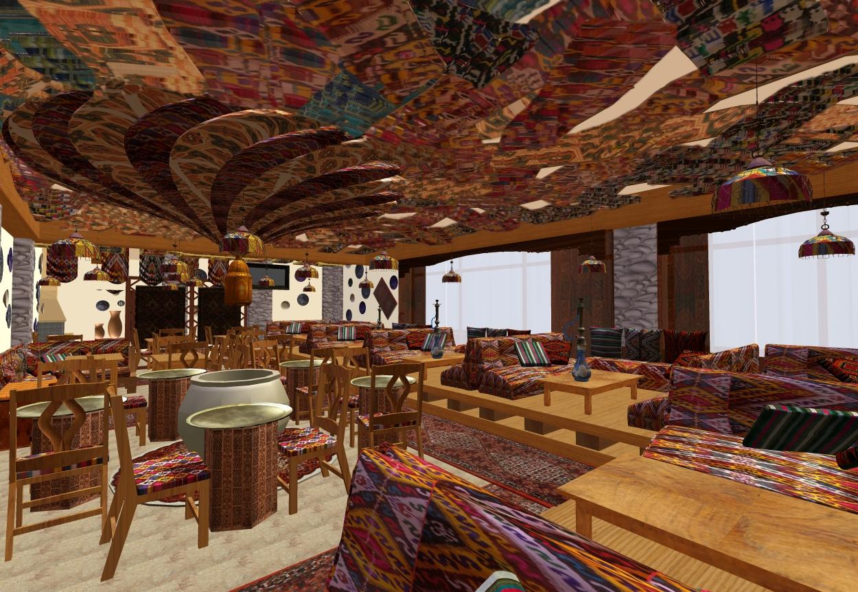 Дизайн в восточном стиле кафе